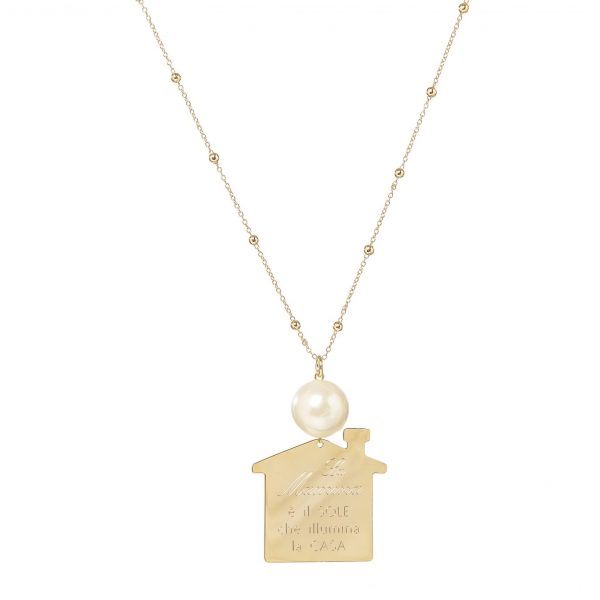 Collana perle bigiotteria Paviè   La mamma è il sole che illumina la casa